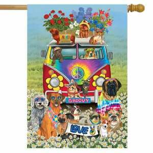 """Groovy Pups Spring House Flag Hippies Dogs Humor 28"""" x 40"""" Briarwood Lane"""