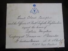 c 1900s  1st BATTALION SEAFORTH HIGHLANDERS LIEUTENANT COLONEL CAMPBELL INVITE