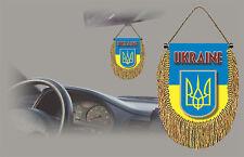 UKRAINA REAR VIEW MIRROR WORLD FLAG CAR BANNER PENNANT