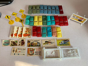 Vintage 1950s F & F Mold & JVZ Co Plastic Toy Cars Lot Of 25 W/ Signs & Extras
