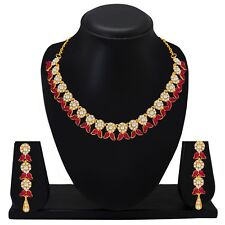 Pink Choker Indian Bollywood Fashion Gold Plated Wedding Jewelry Necklace Set