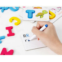 Wooden 26 A~Z Alphabet Learning Cards Jigsaw Puzzles Kids Baby Cognitive Toy