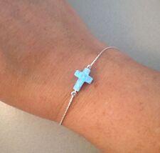 Sideways cross charm bracelet blue opal pendant sterling silver braclet 7 inch