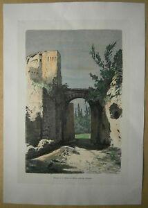 1880 Spain engraving: GATE LEADING TOWARD MILLS, ALHAMBRA, GRANADA (#38)