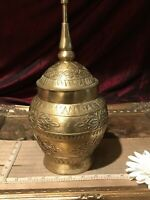 "Antique Vintage Metal Brass Urn/Covered Jar Embossed Decorative Design 12""x5 1/2"