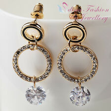 18K Yellow Gold Plated Simulated Diamond 2.0ct Round Cut Double Circle Earrings