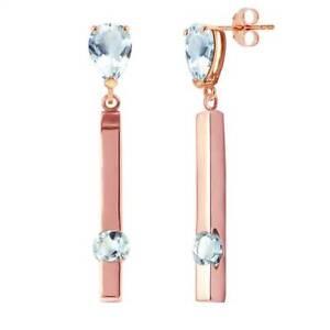 Genuine Aquamarine Pear & Round Gems Bar Design Dangles Earrings 14K Solid Gold