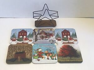 Christmas Fall Coaster Set  Of 6 Pcs With Storage Base Beautiful Display Visual