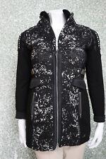 140/12 SPORTALM Damen Jacke Mantel Gr. 38 schwarz weiß Materialmix Damenjacke