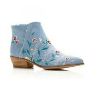 Guess Damen Schuhe Stiefelette blau Stiefel Jeans mit Blumen
