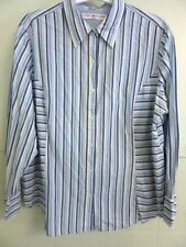 """QUALITY CHIC!! 20 Bust 54"""" Blue/Yellow/White Striped Button L.S. Cotton Blouse"""