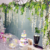 10x Artificial Fake Flower Wisteria Vine Hanging Garlands Chrismas Wedding Decor