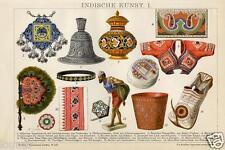 Stampa Antica = 1893= ARTE DELL' INDIA  ANTICA = CROMOLITOGRAFIA = Old Print