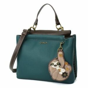 New Chala SATCHEL Zip Tote Shoulder Large Bag Turquoise Blue Pleather PAW gift