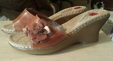 """""""Encanto Wedge"""" Sandles Size 10 ~ Cognac Color ~ Nwot"""