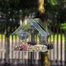 NEW BIRD FEEDER GLASS WINDOW CLEAR VIEWING TABLE SEED PEANUT HANGING SUCTION