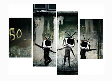 "Banksy Black Tv Head Funny Print 20"" X 40""+ Long 4 Panel Canvas Picture Wall Art"