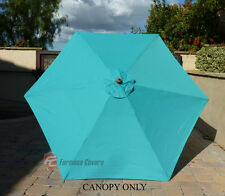 9ft Umbrella Replacement Canopy 6 Ribs in Turquoise (Canopy Only)