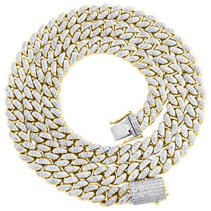 """10K Yellow Gold 7.50mm Round Diamond Miami Cuban Link Necklace 22"""" Chain 2.80 CT"""