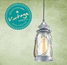 VINTAGE lanterna E27 1 luce da 60W diam. 14cm metallo, argento anticato , vetro