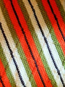 VTG 70s Retro Handmade Blanket Afghan Large 51x78 Brown Orange Green Heavy Warm