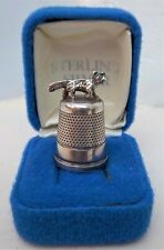 JAMES SWANN & SON BIRMINGHAM SILVER HALLMARKED THIMBLE WITH FOX UNUSED & BOXED