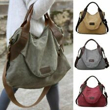 Große Damen Schultertasche Umhängetasche aus Canvas Crossover Stoff Handtasche