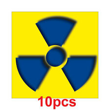 10 Sticker 10cm Sticker Radioactive Radiation Warning Notice Chars Symbol Xray