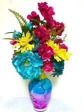 Tall Floral Arrangement Centerpiece Turquoise Fuchsia Pink Yellow Italian Vase