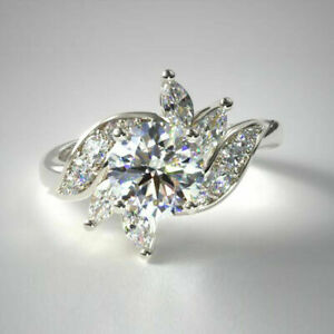 0.91 Ct Round Real Diamond Engagement Rings Solid 14K White Gold Size M1/2 N O P