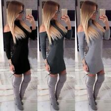 Robe Tricot De Femme Pull Manches Longues Épaule Découverte Moulant Long Haut