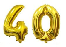 """16"""" 40 Gold Number Balloons 40th Birthday Party Anniversary Foil Balloon Decor"""