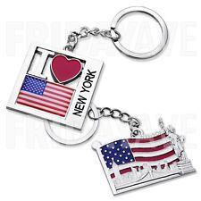 2x New York NY Statue of Liberty Brooklyn Bridge NYC US Flag Metal Keychain Ring