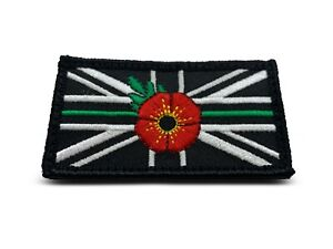 Union Jack thin GREEN line Flower Embroidered Sew on Official VELCRO® patch
