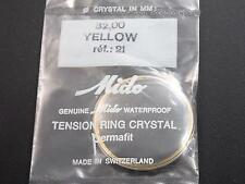 Ref321 Mido Vintage 32mm Watch Crystal Yellow Tension Ring Permafit Waterproof