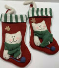 Set Of 2 Christmas Stockings Cat Kitten With Yarn Lined 3D With Adjustable Tail