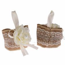 12 x Hesse B Fleur Cadeau Pochette Perle Blanche Dentelle De Mariage Velcro