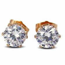 Large 18ct Gold Filled 8mm Simulated White Diamond Womens Stud Earrings BE959