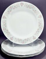 3 Porcelain Silver Trim and Pink Floral Dinner Plates