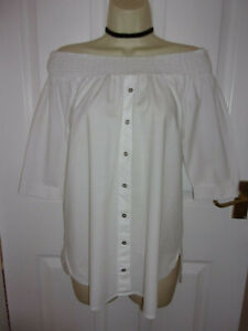 GORGEOUS RIVER ISLAND WHITE COTTON OFF SHOULDER/BARDOT TOP s10 HOLIDAY