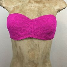 Victoria's Secret Bra Strapless Solid Hot Pink Lace Unpadded Size Small