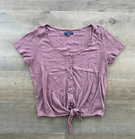Women's American Eagle Purple Tie-Front Short Sleeve Knit Top-Medium
