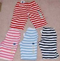 New Baby Gap Striped cotton PANTS 0 3 6 month BLUE PINK RED NAVY boy girl