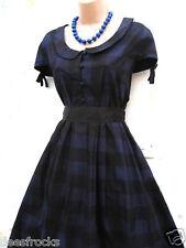 SIZE 16 VINTAGE STYLE 50'S ROCKABILLY JIVE CHECK TARTAN DRESS BLUE # US 12 EU 44