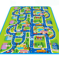 CO_ JN_ FH- Giant Kids City Playmat Fun Town Cars Play Road Carpet Rug PE Toy Ma