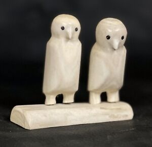 VTG Alaska Inuit Eskimo Carved Antler Snow Owls Carving Signed