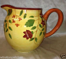 LIVING ART ANTIONETTE PITCHER 86 OZ RED FLOWERS GREEN LEAVES ON YELLOW
