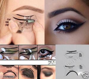 2x Top Bottom Eyeliner Stencil Easy Smokey Cat Eye Shaping Template Liner Makeup