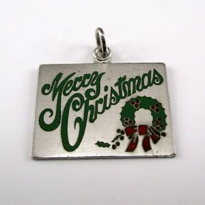 Vintage MERRY CHRISTMAS Charm for Bracelet STERLING SILVER Enamel WREATH Green