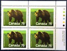 "Canada Stamp Sc #1178 ""Mammal-Grizzly Bear"" Block Cv=$12.50"